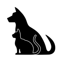 silhouette of pets