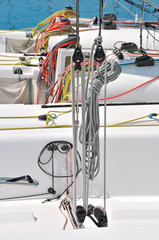 Colorful ropes on sailboat