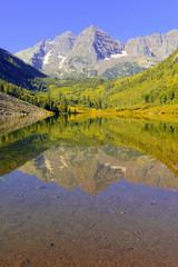 Maroon Bells, reflecting in water, Elk Range, Colorado