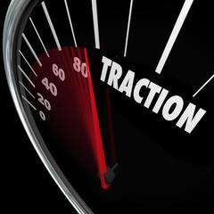Traction Gaining Ground Momentum Speedometer Measure Progress