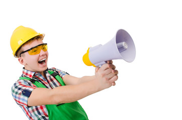 Funny construction worker with loudspeaker on white