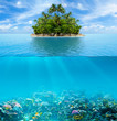 Underwater coral reef seabed and water surface with tropical isl - 70103850