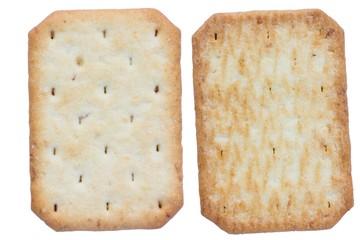 Saltine soda crackers isolated on white background