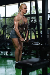 Muscular Woman Doing Heavy Weight Exercise For Triceps