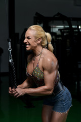 Female Bodybuilder Doing Heavy Weight Exercise For Triceps