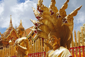 Buddha on Temple in Chiang Mai, Thailand.