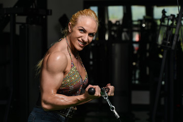 Female Bodybuilder Doing Heavy Weight Exercise For Biceps
