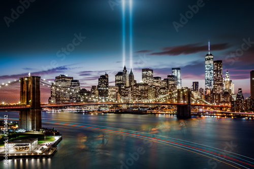 Tuinposter Artistiek mon. Tribute in Light memorial on September 11, 2014