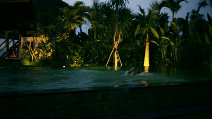 Man swimming in exotic place in the evening