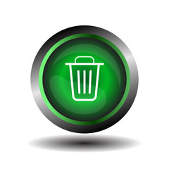 Recycle bin icon Green trash bin icon on a white background