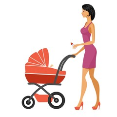 mother and baby buggy