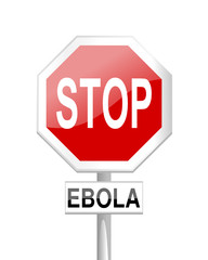 Stop Ebola - road sign with a sign - vector