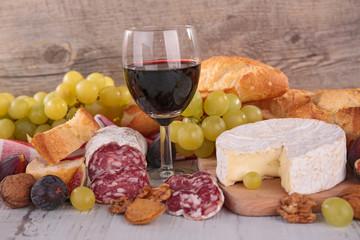 wine,cheese and salami