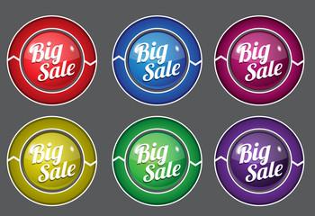 Big Sale Glossy Shiny Circular Vector Button