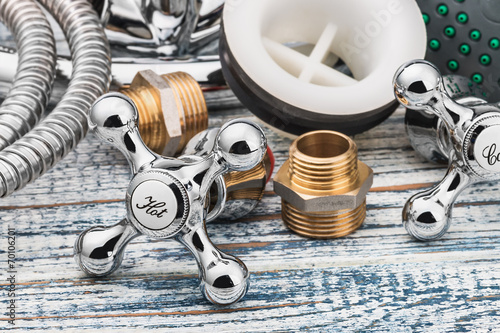 Leinwandbild Motiv plumbing and accessories