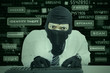 Businessman wearing mask stealing information