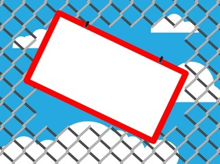 Blank board on chain link fence