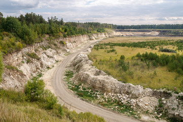 Technological road to the quarry for the extraction of gypsum in