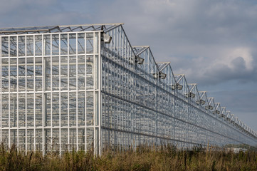 Industrial greenhouses on the sky background with clouds