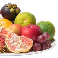 Isolated mixed fruits with clipping path