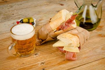 Spanish ham and cheese sandwich