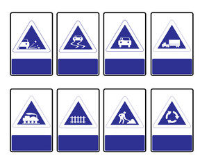 Triangle blue road signs