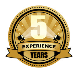 Label with the text 5 Years Experience written inside
