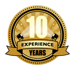 Label with the text 10 Years Experience written inside