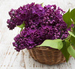 summer lilac flowers in basket