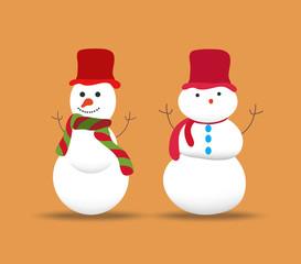 set of snowmans  for christmas design