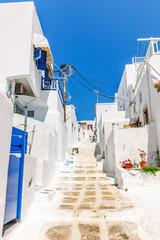 Sloping stepped lane in Mykonos