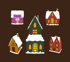 set of winter christmas house for design