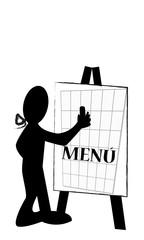 Silueta escribiendo menú en pizarra
