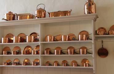 A Beautiful Collection of Copper Cooking Saucepans.
