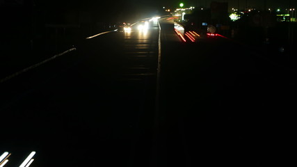 Night Road Traffic. Time Lapse