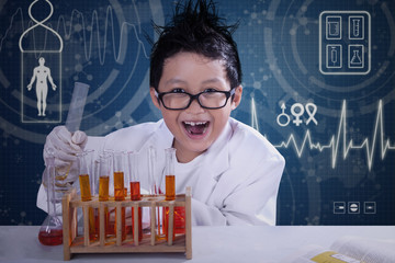 Funny scientist doing research in laboratory
