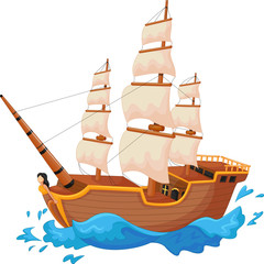Cartoon ship isolated