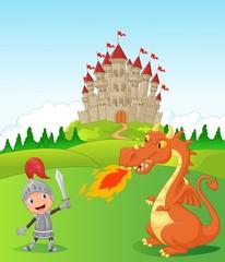 Cartoon knight with fierce dragon