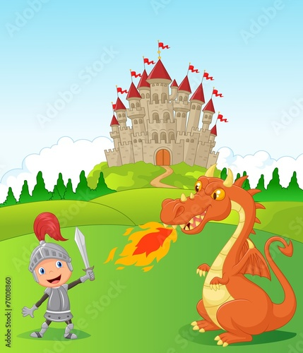 Foto op Aluminium Kasteel Cartoon knight with fierce dragon