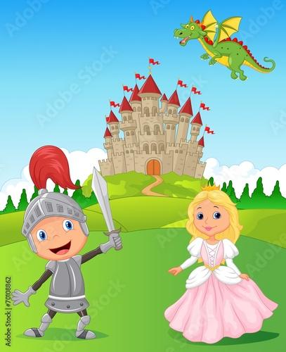 Foto op Aluminium Kasteel Knight, princess and dragon