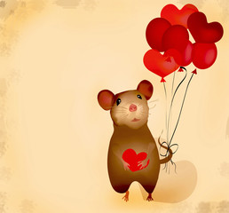Love Retro Card with mouse and heart balloons