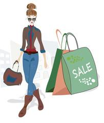 Fashion Woman on Shopping. Design Sketch