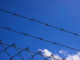 wire fence with blue sky 2