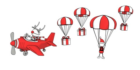 little sketchy man - reindeer in plane + santa with parachute