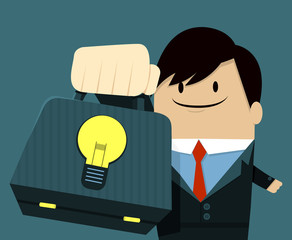 Businessman face smile and Showing Bag-Light Bulb