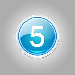 5 Number Circular Vector Blue Web Icon Button