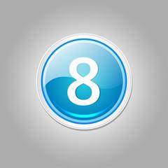 8 Number Circular Vector Blue Web Icon Button