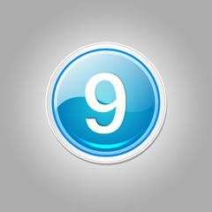 9 Number Circular Vector Blue Web Icon Button