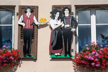 Enseigne de restaurant en Alsace, Bas Rhin