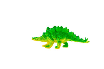 Stegosaurus dinosaur plastic toy isolated on white background